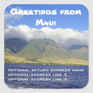 Greetings from Maui Return Address Square Sticker