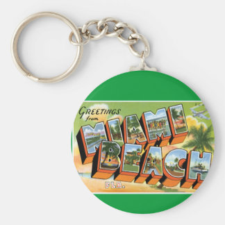 Greetings from Miami Beach Basic Round Button Keychain