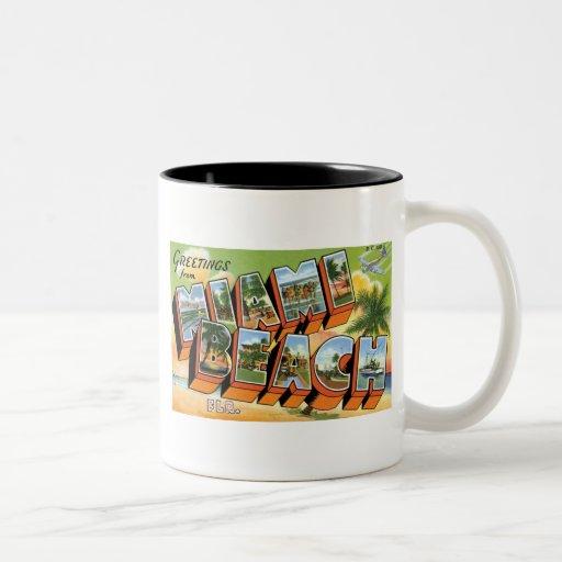 Greetings from Miami Beach, Fl Two-Tone Coffee Mug