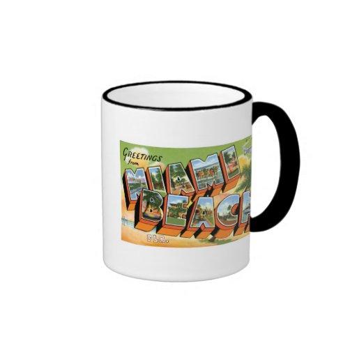 Greetings from Miami Beach Ringer Coffee Mug
