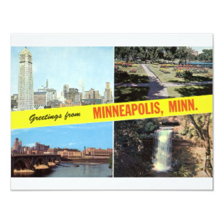 "Greetings from Minneapolis 1950s 4.25"" X 5.5"" Invitation Card"