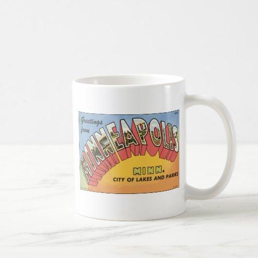 Greetings From Minneapolis Minn., Vintage Classic White Coffee Mug