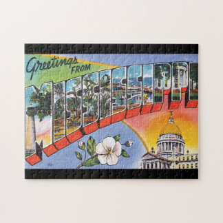 Greetings from Mississippi_Vintage Travel Poster Jigsaw Puzzle