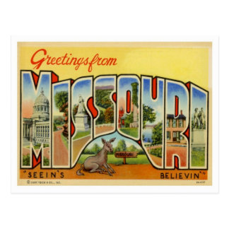 Greetings From Missouri Vintage Postcard
