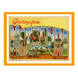 Greetings From Missouri Vintage Postcard