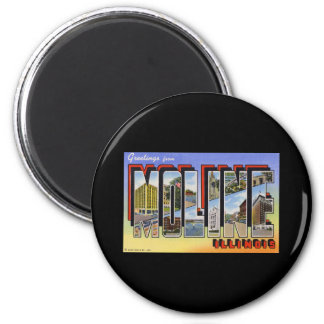 Greetings from Moline Illinois 2 Inch Round Magnet