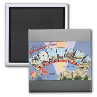 Greetings From Montana State Capital In Helena, Vi 2 Inch Square Magnet