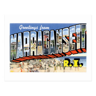 Greetings from Narragansett, Rhode Island! Retro Postcard