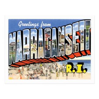 Greetings From Narragansett Rhode Island US City Postcard
