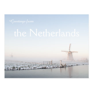 Greetings from Netherlands winter windmill card