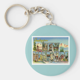 Greetings From New Hampshire Basic Round Button Keychain