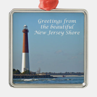 Greetings From New Jersey - Barnegat Light Metal Ornament