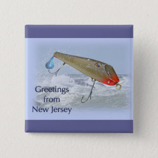 Greetings From New Jersey Fishing Lure Button