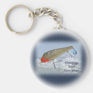 Greetings From New Jersey Fishing Lure Keychain