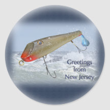 Jersey Fishing on Greetings From New Jersey Fishing Lure Sticker