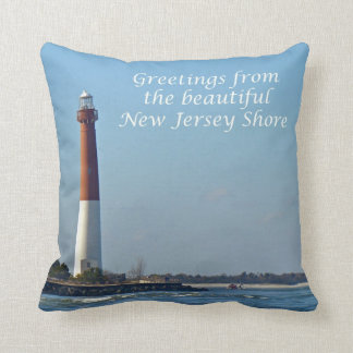 Greetings From New Jersey Shore - Barnegat Light Throw Pillow