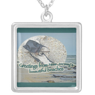 Greetings From New Jersey's Beautiful Beaches Silver Plated Necklace