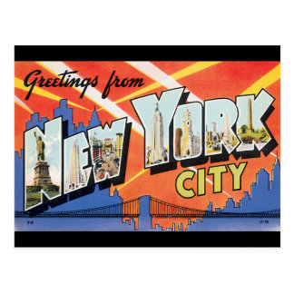 Greetings from New York City_Vintage Travel Poster Postcard