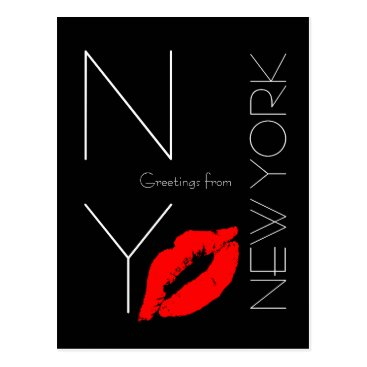 USA Themed Greetings from New York Red Lipstick Kiss Black Postcard