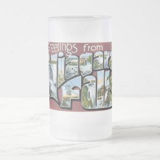 Greetings from Niagara Falls! 16 Oz Frosted Glass Beer Mug
