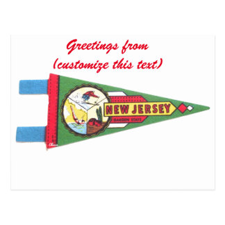 Greetings from NJ New Jersey Pennant Postcard