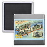 Greetings From North Carolina Charlotte, Vintage 2 Inch Square Magnet