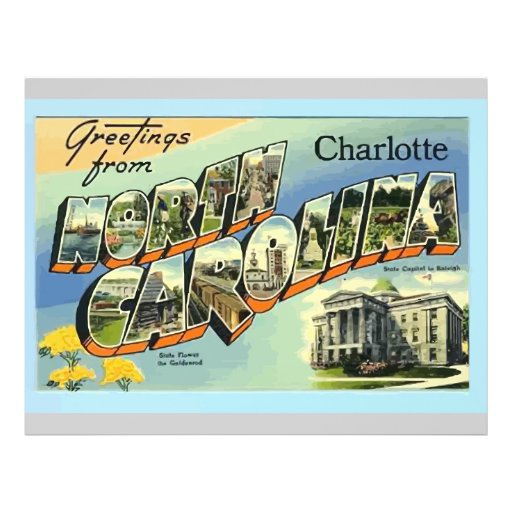 Greetings From North Carolina Charlotte, Vintage Full Color Flyer