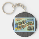 Greetings From North Carolina Charlotte, Vintage Keychains