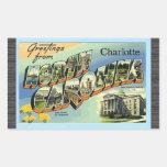 Greetings From North Carolina Charlotte, Vintage Rectangular Sticker