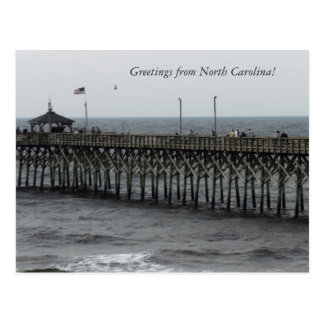 "Greetings from North Carolina!"" Pier Fishing Post Card"