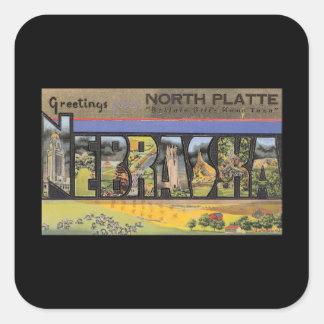 Greetings from North Platte Nebraska_Vintage Square Sticker