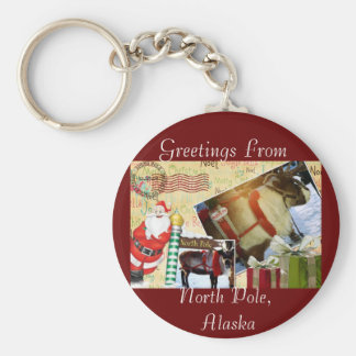Greetings From North Pole, Alaska Keychain