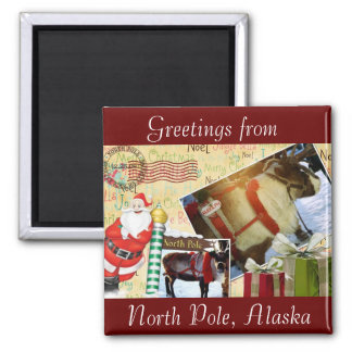 Greetings From North Pole, Alaska 2 Inch Square Magnet