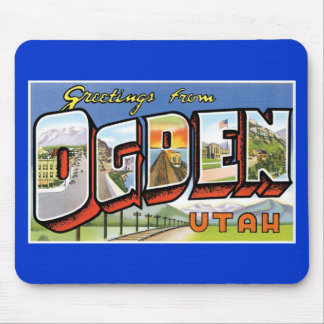 Greetings from Ogden, Utah! Retro Post Card Mouse Pad