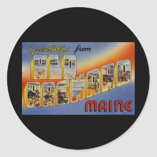 Greetings from Old Orchard Maine Classic Round Sticker