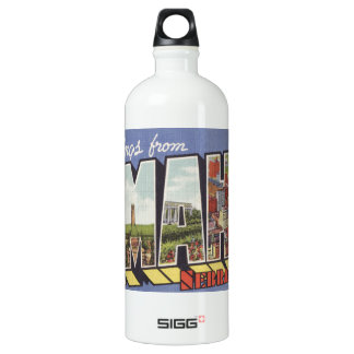 Greetings from Omaha NE Large Letter vintage theme Water Bottle