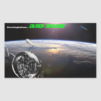 Greetings from out space! rectangular sticker