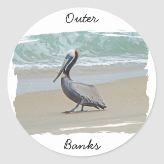 Greetings From Outer Banks OBX NC Classic Round Sticker