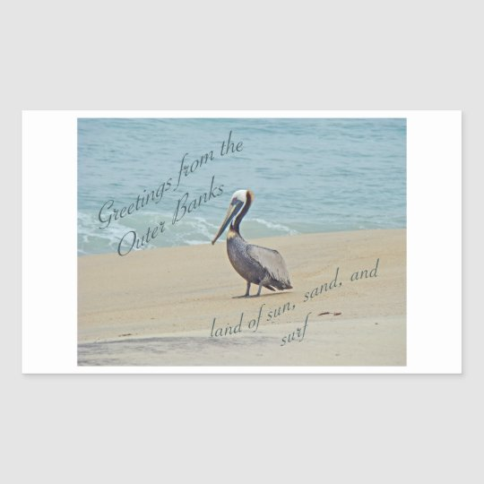 Greetings From Outer Banks OBX NC Rectangular Sticker