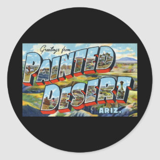 Greetings from Painted Desert Arizona Classic Round Sticker