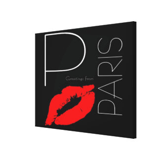 Greetings from Paris France Red Lipstick Kiss Canvas Print
