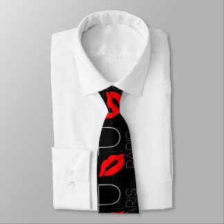 Greetings from Paris Red Lipstick Kiss Love Neck Tie