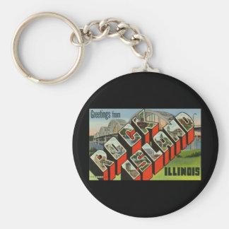 Greetings from Rock Island Illinois Keychain