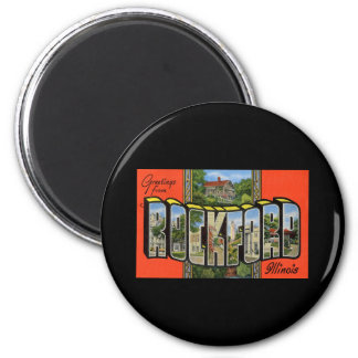 Greetings from Rockford Illinois 2 Inch Round Magnet