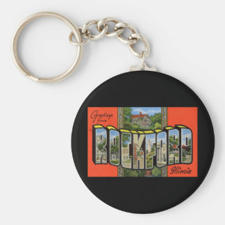 Greetings from Rockford Illinois Basic Round Button Keychain