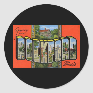 Greetings from Rockford Illinois Classic Round Sticker