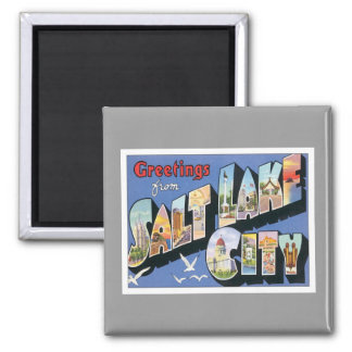Greetings From Salt Lake City Utah 2 Inch Square Magnet