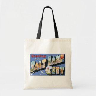 Greetings From Salt Lake City, Vintage Budget Tote Bag