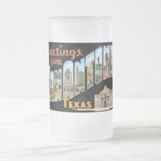 Greetings from San Antonio, Texas! Retro Post Card Frosted Glass Beer Mug
