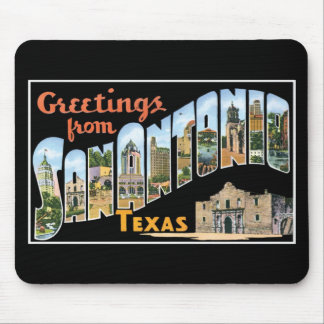 Greetings from San Antonio, Texas! Retro Post Card Mouse Pad